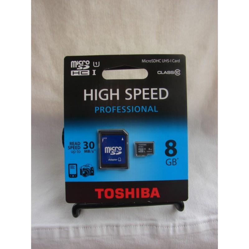 8GB microSDHC memory card Class 10. Professional