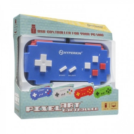 USB PC Mac controller, Pixel Art Blue
